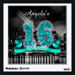 """City Lights Sweet Sixteen Teal ID120 Wall Sticker<br><div class=""""desc"""">This classy wall decal design features a giant, teal faux-glitter &#39;16&#39; and ribbon over a black and white photograph of a bright city skyline reflected on water. Add a personalized name using the provided template. To see other products with this design search ID120 for teal, ID119 purple, ID118 blue or...</div>"""