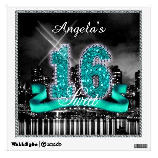 City Lights Sweet Sixteen Teal ID120 Wall Sticker