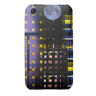 City Lights under a Full Moon, abstract iPhone 3 Cover