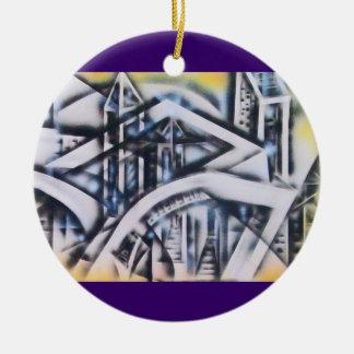 City Lights w Purlple Border Double-Sided Ceramic Round Christmas Ornament
