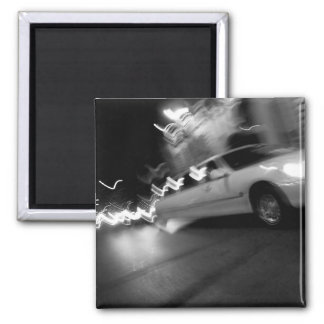City Limousine at Night 2 Inch Square Magnet