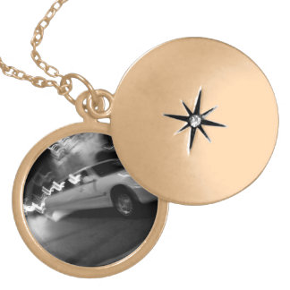 City Limousine at Night Gold Plated Necklace