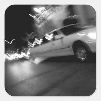 City Limousine at Night Square Sticker