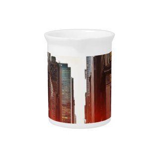 City Manhattan Sunset Town Buildings Skyscrapers Beverage Pitcher