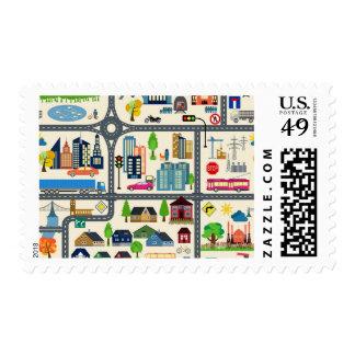 City Map Pattern Postage