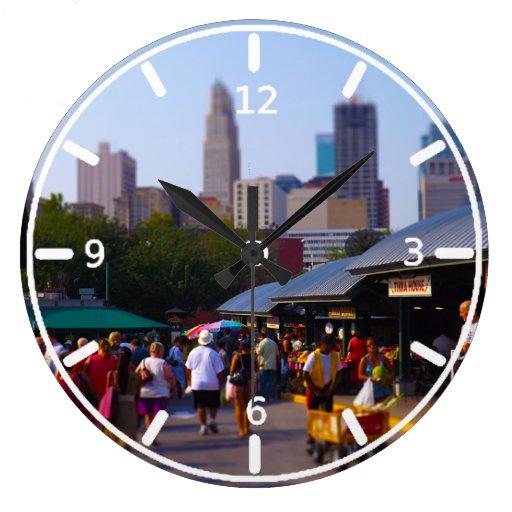 City Market and Downtown Kansas City Skyline Round Clocks