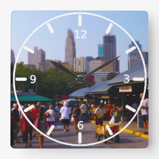 City Market and Downtown Kansas City Skyline Square Wall Clock