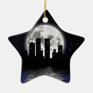 City Moon Ceramic Ornament