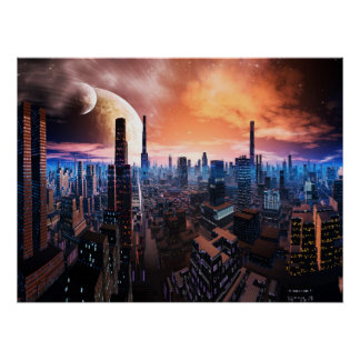 'City Never Sleeps' Scifi Fantasy Art Print