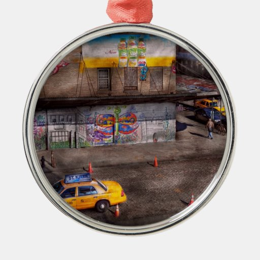 City - New York - Greenwich Village - Life's color Round Metal Christmas Ornament