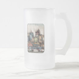 City - New York Skyscrapers Frosted Glass Beer Mug