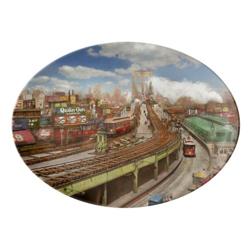 City - New York - The Brooklyn bridge from 1903 Porcelain Serving Platter