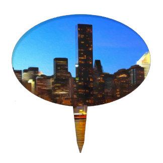 City Night Art Cake Topper