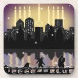 City Night Skyline Hanukkah Menorah Drink Coaster