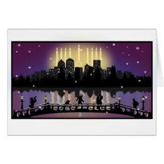City Night Skyline Hanukkah Menorah Greeting Card at Zazzle