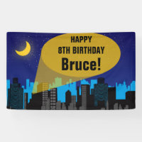 City Night Skyline Superhero Boys Birthday Party Banner
