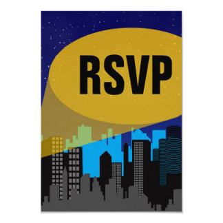 City Night Skyline Superhero Boys Birthday Party Card