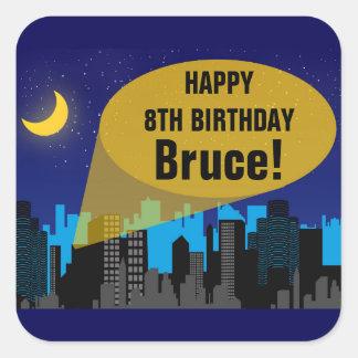City Night Skyline Superhero Boys Birthday Party Square Sticker
