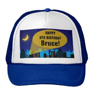 City Night Skyline Superhero Boys Birthday Party Trucker Hat