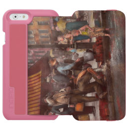 City - NY - Drinking water from a street pump 1910 iPhone 6/6s Wallet Case