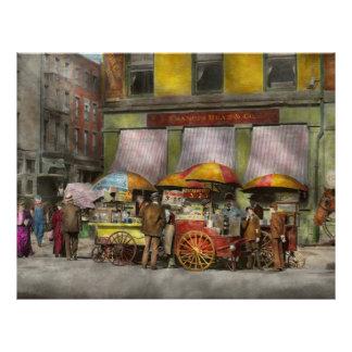 """City - NY- Lunch carts on Broadway St NY - 1906 8.5"""" X 11"""" Flyer"""