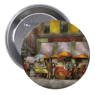 City - NY- Lunch carts on Broadway St NY - 1906 Button