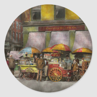 City - NY- Lunch carts on Broadway St NY - 1906 Classic Round Sticker