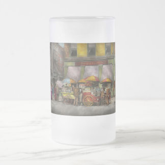 City - NY- Lunch carts on Broadway St NY - 1906 Frosted Glass Beer Mug