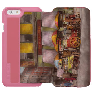 City - NY- Lunch carts on Broadway St NY - 1906 iPhone 6/6s Wallet Case
