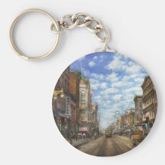 City - NY - Main Street. Poughkeepsie, NY - 1906 Basic Round Button Keychain