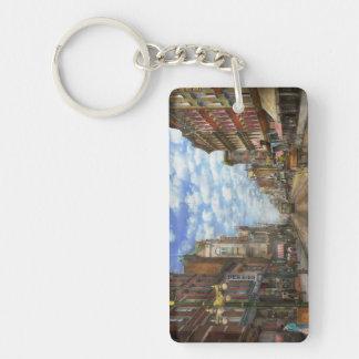 City - NY - Main Street. Poughkeepsie, NY - 1906 Double-Sided Rectangular Acrylic Keychain