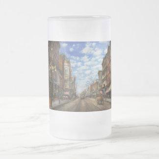 City - NY - Main Street. Poughkeepsie, NY - 1906 Frosted Glass Beer Mug