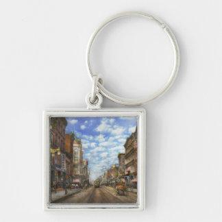 City - NY - Main Street. Poughkeepsie, NY - 1906 Silver-Colored Square Keychain