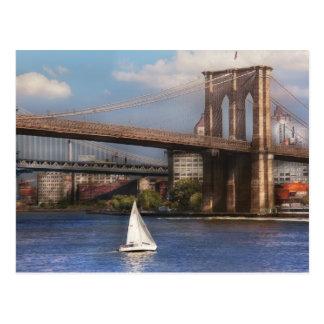 City - NY - Sailing under the Brooklyn Bridge Postcard