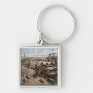 City - NY - South Street Seaport - 1901 Silver-Colored Square Keychain