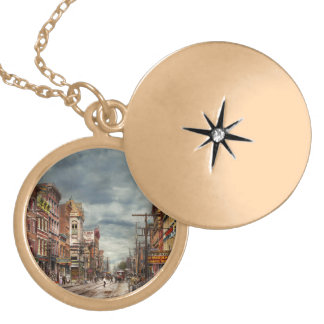 City - NY - The ever changing market place 1906 Gold Plated Necklace