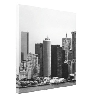 City - NY - The financial district - BW Stretched Canvas Print