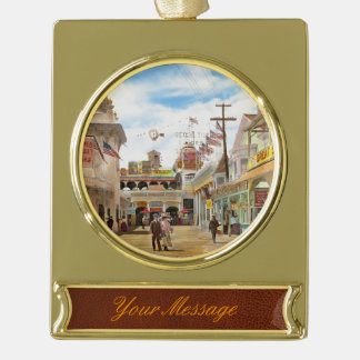 City - NY - The Great Steeplechase 1903 Gold Plated Banner Ornament