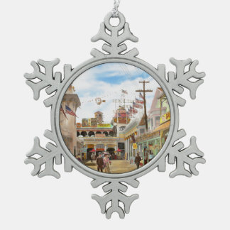 City - NY - The Great Steeplechase 1903 Snowflake Pewter Christmas Ornament