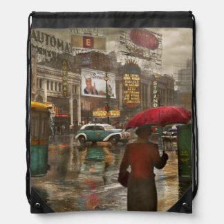 City - NY - Times Square on a rainy day 1943 Drawstring Backpack