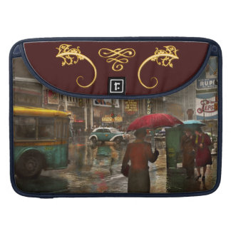 City - NY - Times Square on a rainy day 1943 Sleeves For MacBooks