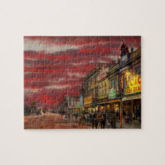 City - NZ - The shopping district 1908 Jigsaw Puzzle