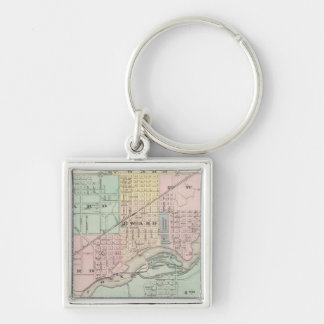 City of Appleton, county seat of Outagamie Co Silver-Colored Square Keychain