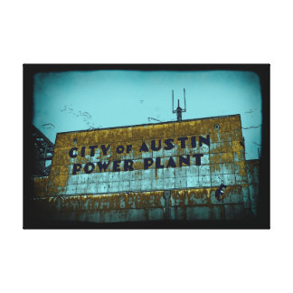 City of Austin Power Plant Distressed Art Canvas Stretched Canvas Print