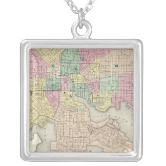 City Of Baltimore Maryland Square Pendant Necklace