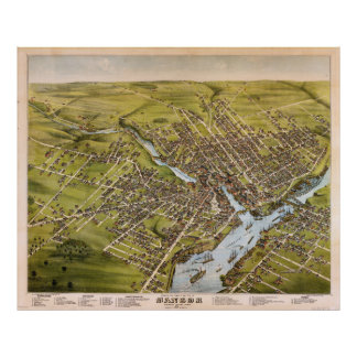 City of Bangor Penobscot County Maine (1875) Poster