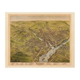 City of Bangor Penobscot County Maine (1875) Wood Print