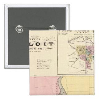 City of Beloit, Rock Co and Shullsburg Pinback Button