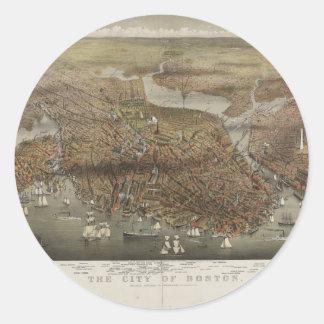 City of Boston Massachusetts 1873 Classic Round Sticker