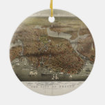 City of Boston Massachusetts 1873 Double-Sided Ceramic Round Christmas Ornament